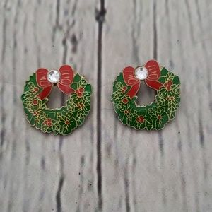 SET OF 2 VINTAGE CHRISTMAS WREATH RHINESTONE PINS